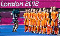 LONDEN - De mannen van Oranje,maandag voor de hockey wedstrijd tussen de mannen van Nederland en India tijdens de Olympische Spelen in Londen .ANP KOEN SUYK