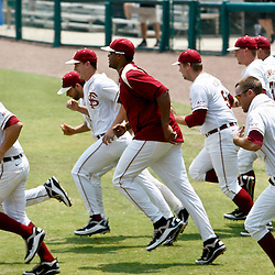 June 06, 2011; Tallahassee, FL, USA; Florida State Seminoles players run onto the field after a win in the Tallahassee regional of the 2011 NCAA baseball tournament against the Alabama Crimson Tide after play resumed today following severe weather last night at Dick Howser Stadium. Florida State defeated Alabama 11-1 to advance to a super regional.  Mandatory Credit: Derick E. Hingle