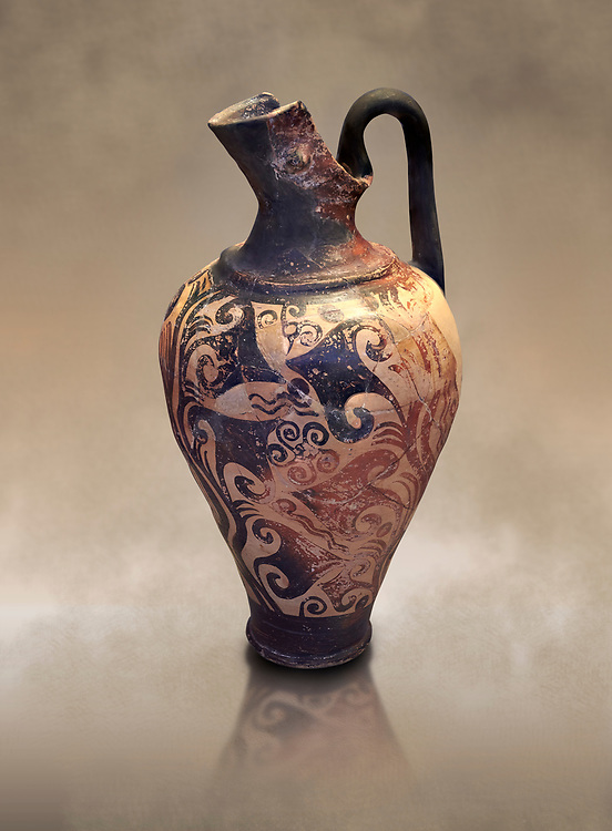 Mycenaean jug decorated with ivy leaves , Grave I, Grave Circle A, Mycenae 16-15 Cent BC. National Archaeological Museum Athens. Cat No 199 .<br /> <br /> If you prefer to buy from our ALAMY PHOTO LIBRARY  Collection visit : https://www.alamy.com/portfolio/paul-williams-funkystock/mycenaean-art-artefacts.html . Type -   Athens    - into the LOWER SEARCH WITHIN GALLERY box. Refine search by adding background colour, place, museum etc<br /> <br /> Visit our MYCENAEN ART PHOTO COLLECTIONS for more photos to download  as wall art prints https://funkystock.photoshelter.com/gallery-collection/Pictures-Images-of-Ancient-Mycenaean-Art-Artefacts-Archaeology-Sites/C0000xRC5WLQcbhQ