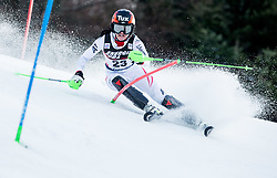 """Stephanie Brunner (AUT) competes during 1st Run of FIS Alpine Ski World Cup 2017/18 Ladies' Slalom race named """"Snow Queen Trophy 2018"""", on January 3, 2018 in Course Crveni Spust at Sljeme hill, Zagreb, Croatia. Photo by Vid Ponikvar / Sportida"""