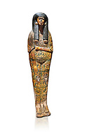 Ancient Egyptian Sarcophagus coffin of Tamutmutef, chantress of Amun, 18th Dynasty, (1550 to 1292 BC), Thebes. Egyptian Museum, Turin. white background.<br /> <br /> The Tamutmutef sarcophagus belongs to a group of 18th Dynasty coffins characterised by the representation of the deceased wearing everyday clothes instead of as a mummy. It is carved in relief to reveal the pleated linen dress eith arms and feet sticking out from the pleats of the cloth. This coffin may have been reused from earlier use updated with dense yellow decorations. .<br /> <br /> If you prefer to buy from our ALAMY PHOTO LIBRARY  Collection visit : https://www.alamy.com/portfolio/paul-williams-funkystock/ancient-egyptian-art-artefacts.html  . Type -   Turin   - into the LOWER SEARCH WITHIN GALLERY box. Refine search by adding background colour, subject etc<br /> <br /> Visit our ANCIENT WORLD PHOTO COLLECTIONS for more photos to download or buy as wall art prints https://funkystock.photoshelter.com/gallery-collection/Ancient-World-Art-Antiquities-Historic-Sites-Pictures-Images-of/C00006u26yqSkDOM