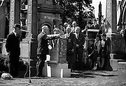 20/08/1967<br /> 08/20/1967<br /> 20 August 1967<br /> Unveiling of Memorial to Thomas Ashe, Peadar Kearney and Piaras Béaslaí at Glasnevin Cemetery, Dublin. Monument being unveiled by Mr. Eamonn Martin, Chief of Staff, Fianna Eireann.