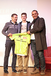 02.10.2015, Nussdorf Gebannt, AUT, Empfang für UCI Juniorenweltmeister Felix Gall, im Bild Günther Feuchter (Team Tom Tailor), UCI Juniorenweltmeister Felix Gall, Jure Pavlic (ÖRV Trainer) // during the official reception for the UCI Junior World Champion Felix Gall in his home town. Nussdorf Decant, Austria on 2015/10/02. EXPA Pictures © 2015, PhotoCredit: EXPA/ Johann Groder