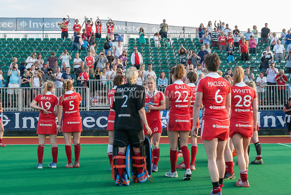 The England team thank their supporters after the Final of the Investec Hockey World League Semi Final 2013, London, UK on 30 June 2013. Australia beat England 3-0. Photo: Simon Parker