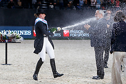 WERTH Isabell (GER), DE VOS Ingmar (Präsident FEI)<br /> Paris - FEI World Cup Finals 2018<br /> FEI World Cup Dressage Freestyle/Kür<br /> www.sportfotos-lafrentz.de/Stefan Lafrentz<br /> 14. April 2018