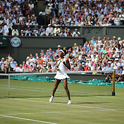 LONDON, ENGLAND - JULY 13:  Venus Williams of the United States celebrates victory against Johanna Konta of Great Britain in the Ladies Singles Semi Final match during the Wimbledon Lawn Tennis Championships at the All England Lawn Tennis and Croquet Club at Wimbledon on July 13, 2017 in London, England. (Photo by Tim Clayton/Corbis via Getty Images)