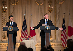 April 30, 2018 - Palm Beach, Florida, U.S. - President Donald J. Trump holds a joint press conference with Japanese prime minister Shinzo Abe at Mar-a-Lago in Palm Beach, FL, Wednesday, April 18, 2018. (Credit Image: © Allen Eyestone/The Palm Beach Post via ZUMA Wire)