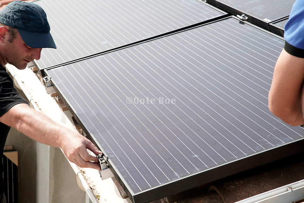 solar panels installing on the roof