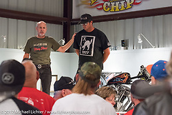 Custom builder Dalton Walker of Split Image Kustoms talks about his Shovelhead dragster on display in the Old Iron - Young Blood exhibition during the media and industry reception in the Motorcycles as Art gallery at the Buffalo Chip during the annual Sturgis Black Hills Motorcycle Rally. Sturgis, SD. USA. Sunday August 6, 2017. Photography ©2017 Michael Lichter.