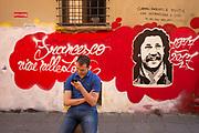 Bologna, Italy, 11 may 2018, Mural in memoriam of Francesco Lorusso