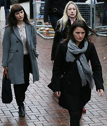 Italian sisters Elisabetta (right) and Francesca Grillo (left, Grey Coat))arrive at Isleworth Crown Court<br />