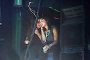 Zoe Kravitz(R) and Guest on side of stage at Lenny Kravitz ' Let Love Rule' 20th Annivarsary Club Tour  held at Irving Plaza on October 11, 2009 in New York City