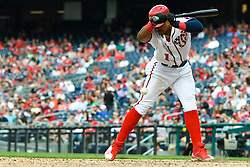 May 6, 2018 - Washington, DC, U.S. - WASHINGTON, DC - MAY 06:  Washington Nationals shortstop Wilmer Difo (1) moves away from an inside pitch during the game between the Philadelphia Phillies  and the Washington Nationals on May 6, 2018, at Nationals Park, in Washington D.C.  The Washington Nationals defeated the Philadelphia Phillies, 5-4.  (Photo by Mark Goldman/Icon Sportswire) (Credit Image: © Mark Goldman/Icon SMI via ZUMA Press)