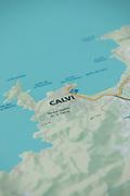 Close up of outside tourist map, Calvi, Corsica, France