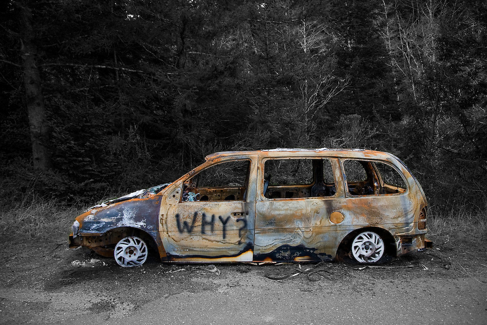 Editions of 17<br /> Abandoned compact station wagon burnt down to its hubcaps on the California Coast south of Eureka