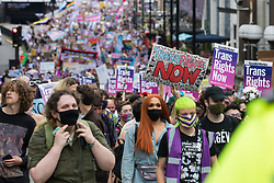 London, UK. 26th June, 2021. Thousands of people take part in a London Trans+ Pride march from the Wellington Arch to Soho Square. London Trans+ Pride is a grassroots protest event which is not affiliated with Pride in London and focuses on creating a space for the London trans, non-binary, intersex and GNC community to come together to celebrate their identities and to fight for their rights.