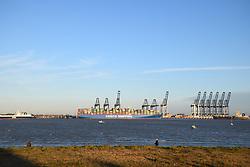 Felixstowe docks taken from Harwich, Essex UK Nov 2018