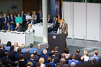 DEU, Deutschland, Germany, Berlin, 24.07.2019: FDP-Partei- und Fraktionschef Christian Lindner bei seiner Rede während der Sondersitzung des Bundestags im Paul-Löbe-Haus anlässlich der Vereidigung der Bundesverteidigungsministerin.