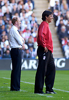 Photo. Glyn Thomas. Digitalsport<br /> West Bromwich Albion v Fulham. <br /> Barclays Premiership. 18/09/2004.<br /> Fulham manager Chris Coleman (R) and his West Brom counterpart Gary Megson share a joke during a light-hearted moment.