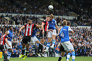 Sheffield Wednesday defender Tom Lees (15) battles in the air during the EFL Sky Bet Championship match between Sheffield Wednesday and Sheffield Utd at Hillsborough, Sheffield, England on 24 September 2017. Photo by Phil Duncan.