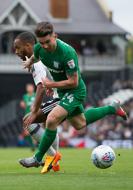Preston North End's Sean Maguire battles for possession with Fulham's Denis Odoi<br /> <br /> Photographer Ashley Western/CameraSport<br /> <br /> The EFL Sky Bet Championship - Fulham v Preston North End - Saturday 14th October 2017 - Craven Cottage - London<br /> <br /> World Copyright © 2017 CameraSport. All rights reserved. 43 Linden Ave. Countesthorpe. Leicester. England. LE8 5PG - Tel: +44 (0) 116 277 4147 - admin@camerasport.com - www.camerasport.com