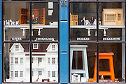 Dolls houses and toys in shop in Nedergade in Odense on Funen Island, Denmark