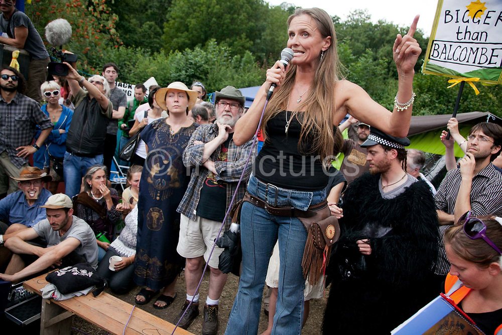 Local anti-frack activists Vanessa Vine from Frack Free Sussex speaks to the crowd.Thousands turned out for a march of solidarity against fracking in Balcombe. The village Balcombe in Sussex is the  centre of fracking by the company Cuadrilla. The march saw anti-fracking movements from the Lancashire and the North, Wales and other communities around the UK under threat of gas and oil exploration by fracking.