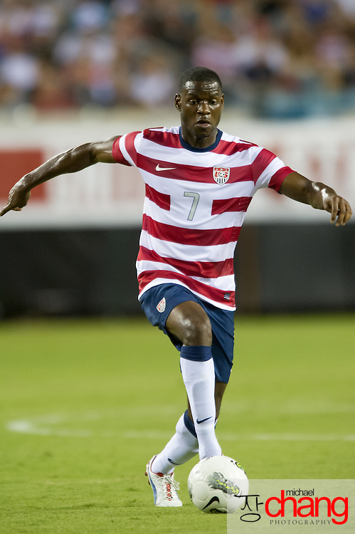 May 26 2012: USA's Maurice Edu (7) drives to the goal during the first half of play of the U.S. Men's National Soccer Team game against Scotland at Everbank Field in Jacksonville, FL. At halftime USA lead Scotland 2-1.