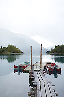 Dock and boats on Chilco Lake. BC, Canada