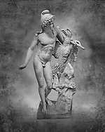 Roman marble sculpture of Ganymede with an eagle, a 2nd century AD copy from an original 2nd century BC late Hellanistic Greek original, inv 6405, Naples Museum of Archaeology, Italy.  Black and White Wall art print by Photographer Paul E Williams