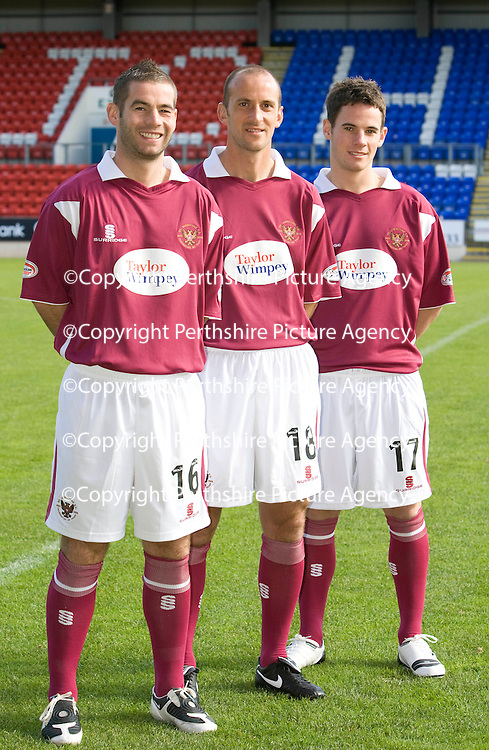 St Johnstone FC launch new Away Kit to mark the Club's 125th Anniversary...16.09.09<br /> Paul Sheerin (centre) flanked by Peter MacDonald and Kevin Moon model the new strip.<br /> see story by Gordon Bannerman....Tel: 07729 865788<br /> Picture by Graeme Hart.<br /> Copyright Perthshire Picture Agency<br /> Tel: 01738 623350  Mobile: 07990 594431