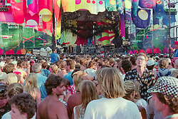 The Grateful Dead at Foxboro Stadium 2 July 1989. 25th Anniversary Tour. Audience photo taken at before the show starts.