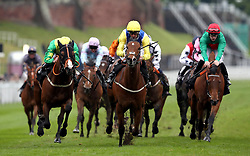 Leodis Dream ridden by Jockey Daniel Tudhope (centre) on the way to winning the Boodles Diamond Handicap during Boodles City Day at Chester Racecourse, Chester