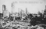 World War I 1914-1918: Aftermath of the First Battle of the Marne, near Paris, France, 5-12 September 1914 - Ruins of Sermaize-les-Bains.  The battle was a Allied strategic  victory.