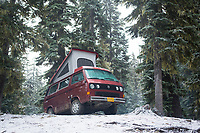 Van camping near Mt Rainier, WA.