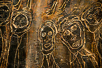 National Gallery, Washington DC. Carvings of faces on bark