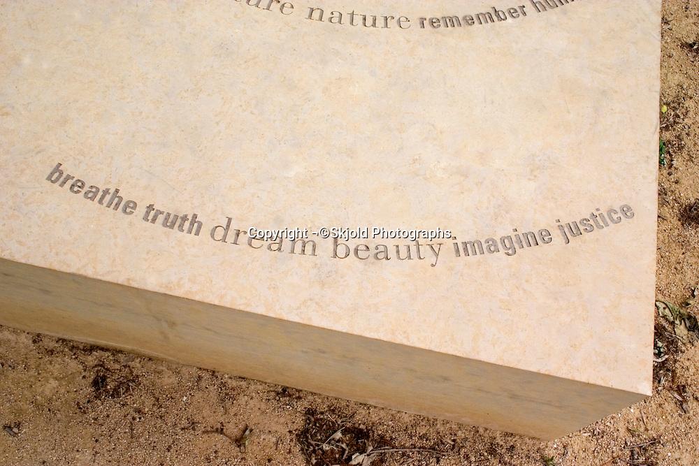Sculpture observing atomic bombings of Hiroshima and Nagasaki Japan. Lyndale Park Peace Garden Minneapolis Minnesota USA
