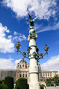 Column in front of the Kunsthistorisches Museum building art history museum in Vienna Austria