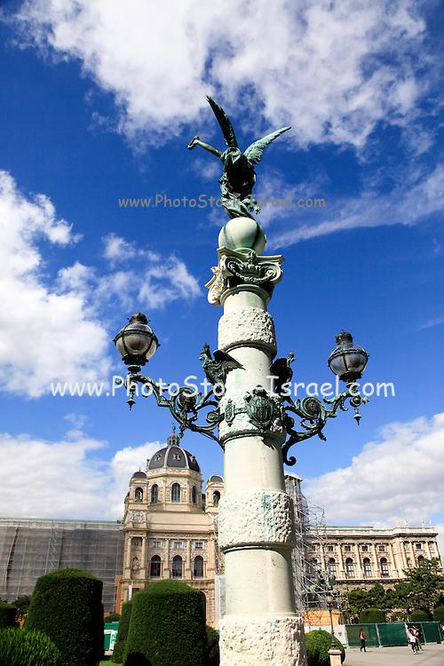 Column in front of the Kunsthistorisches Museum building art history museum in Vienna Austria