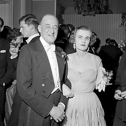 6 May 1955 - The Duchess of Argyll and William Walker-Leigh at a dance in London.<br /> <br /> Photo by Desmond O'Neill Features Ltd.  +44(0)1306 731608  www.donfeatures.com