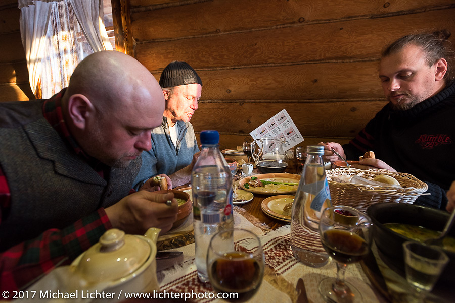 Vasily, Jonathan and Dmitry at dinner in Suzdal, Russia, an 11th century Golden Ring town. Tuesday April 25, 2017. Photography ©2017 Michael Lichter.