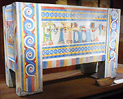 Reproduction of a painted limestone sarcophagus, Minoan. ca. 1375-1300 B.C. made by Emile Gilliéron, père, 1909-1910