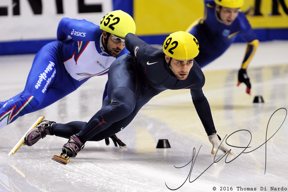 2008 World Cup Short Track - Vancouver - Jeff Simon (USA) competes during 5000m Men's Relay Heat 2.