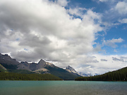 View of beautiful Maligne Lake on an overcast day; Jasper National Park, Alberta, Canada