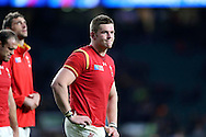 Dan Lydiate of Wales looks dejected after the final whistle as he walks with his players around the pitch to applaud the Wales fans. Rugby World Cup 2015 quarter final match, South Africa v Wales at Twickenham Stadium in London, England  on Saturday 17th October 2015.<br /> pic by  John Patrick Fletcher, Andrew Orchard sports photography.