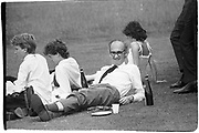 Defence Secretary John Nott and family ( & security)  having a picnic in the middle of the Falklands War. June 4 Eton. 1982.  ( ( 'Pass the Port, Stanley' ) © Copyright Photograph by Dafydd Jones 66 Stockwell Park Rd. London SW9 0DA Tel 020 7733 0108 www.dafjones.com