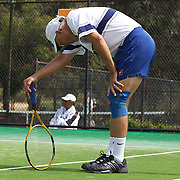 Armistead Neely, USA, in action against Spain in the Von Cramm Cup Final during the 2009 ITF Super-Seniors World Team and Individual Championships at Perth, Western Australia, between 2-15th November, 2009.