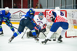 SABOLIC Robert (SLO) vs FICUR Bruno (CRO) during OI pre-qualifications of Group G between Slovenia men's national ice hockey team and Croatia men's national ice hockey team, on February 7, 2020 in Ice Arena Podmezakla, Jesenice, Slovenia. Photo by Peter Podobnik / Sportida