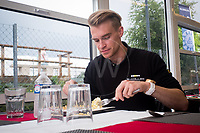 Oliver Webb (GBR) lunch driving the #4 LMP1 Bykolles Racing Team CLM P1/01 - AER discuss tactics over lunch 24hr Le Mans 16th June 2016