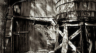 Wooden Barn and Water Tank.